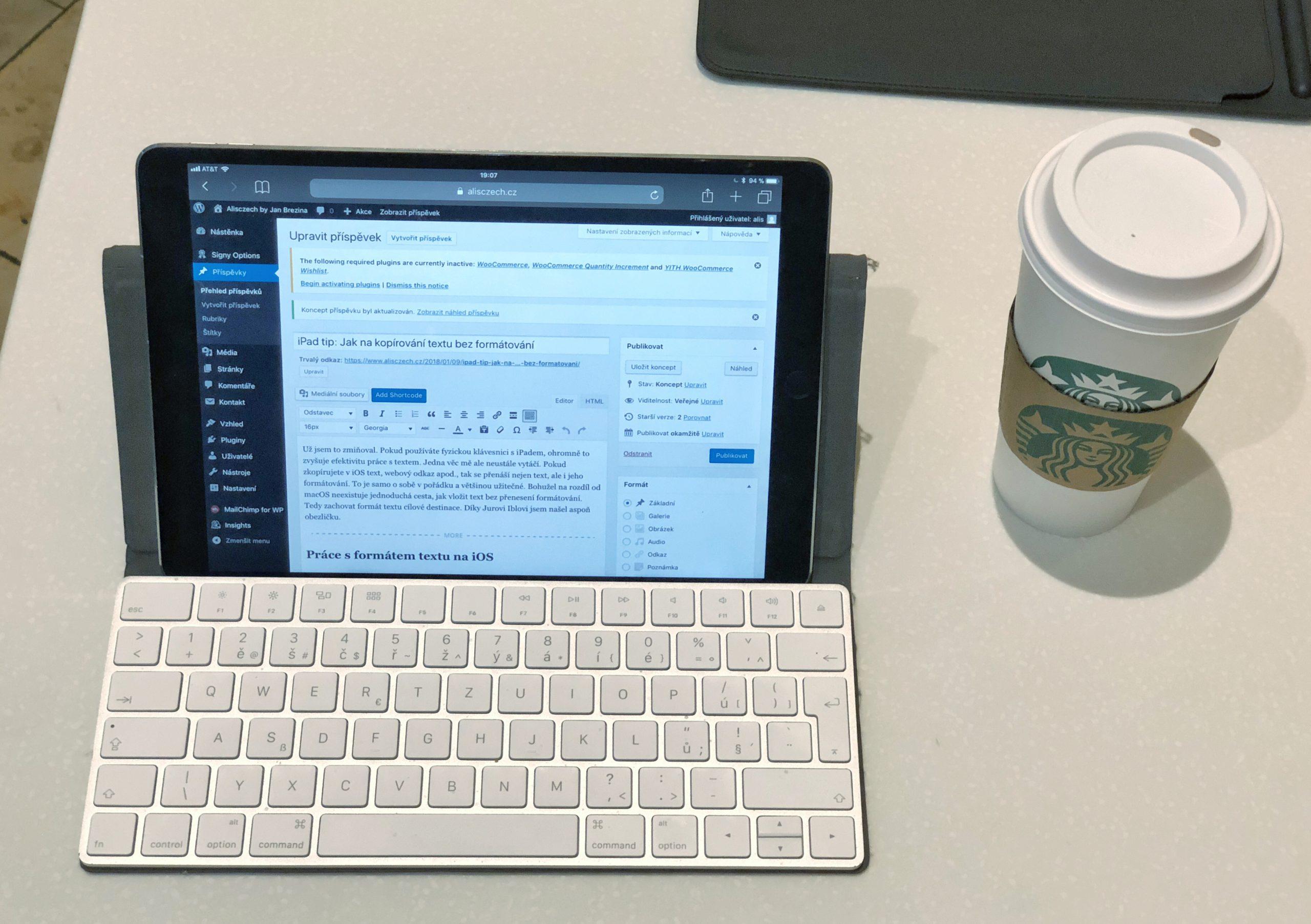 Formátování textu na iPadu